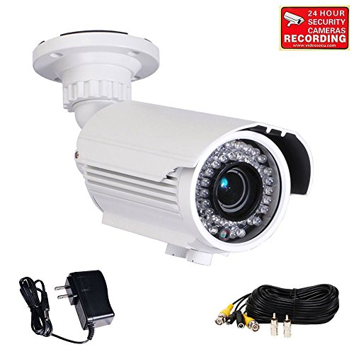 Resistant Camera Color Ccd Bullet (VideoSecu Built-in 1/3'' Sony Effio CCD 700TVL Security Camera Day Night Vision Zoom Focus Weatherproof Outdoor 42 Infrared LEDs 4-9mm Vari-focal Lens with Power Supply and Extension Cable IRE96W M8V)
