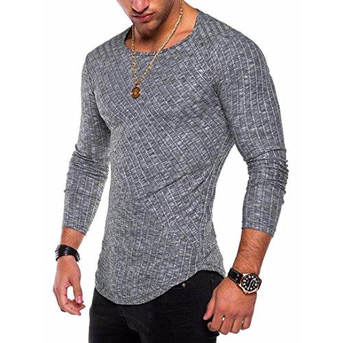 O Manga Larga Casual Hombres De T Gris Hombre moda Fit Cuello Tops Blusa Slim Camisas shirts Oscuro Camiseta wqY1H8cx