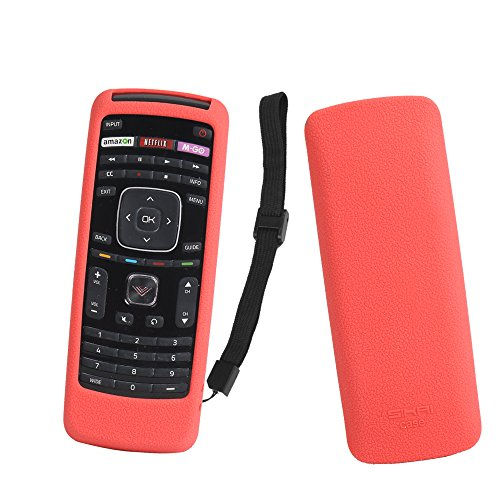 SIKAI Remote Case for Vizio XRT112 / XRV4TV Smart TV Remote Skin-Friendly Silicone Cover for Vizio XRT112 / XRV4TV Remote Control Shockproof Anti-Lost with Remote Loop (Red)