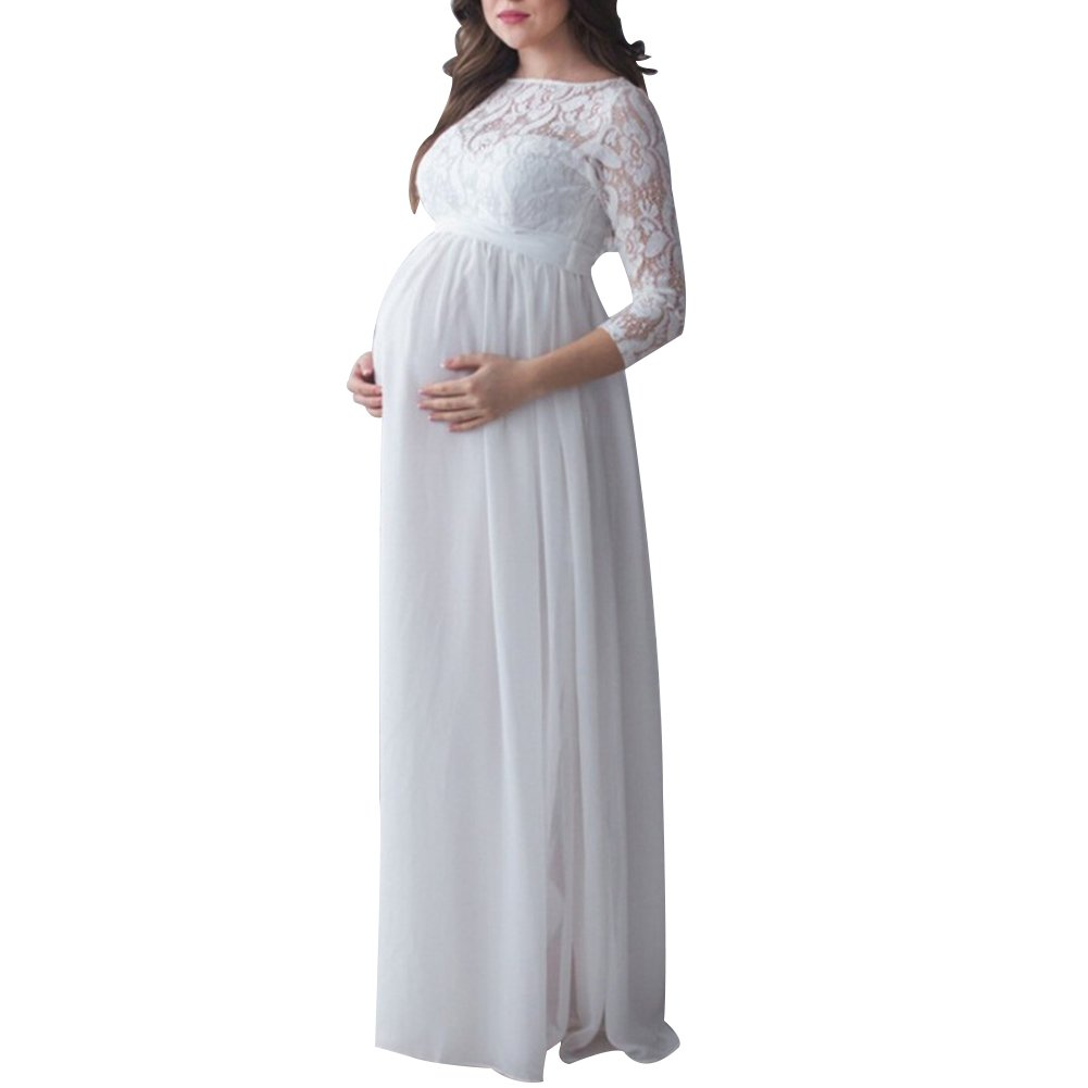 Maternity Lace Ruched Long Dress Pregnancy Women Photography Prop Maxi Gown