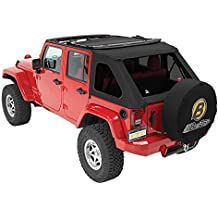 Bestop 56923-17 Black Twill TrekTop NX Complete Fameless Replacement Soft Top with Sunrider Sunroof Feature for 2007-2018 Unlimited
