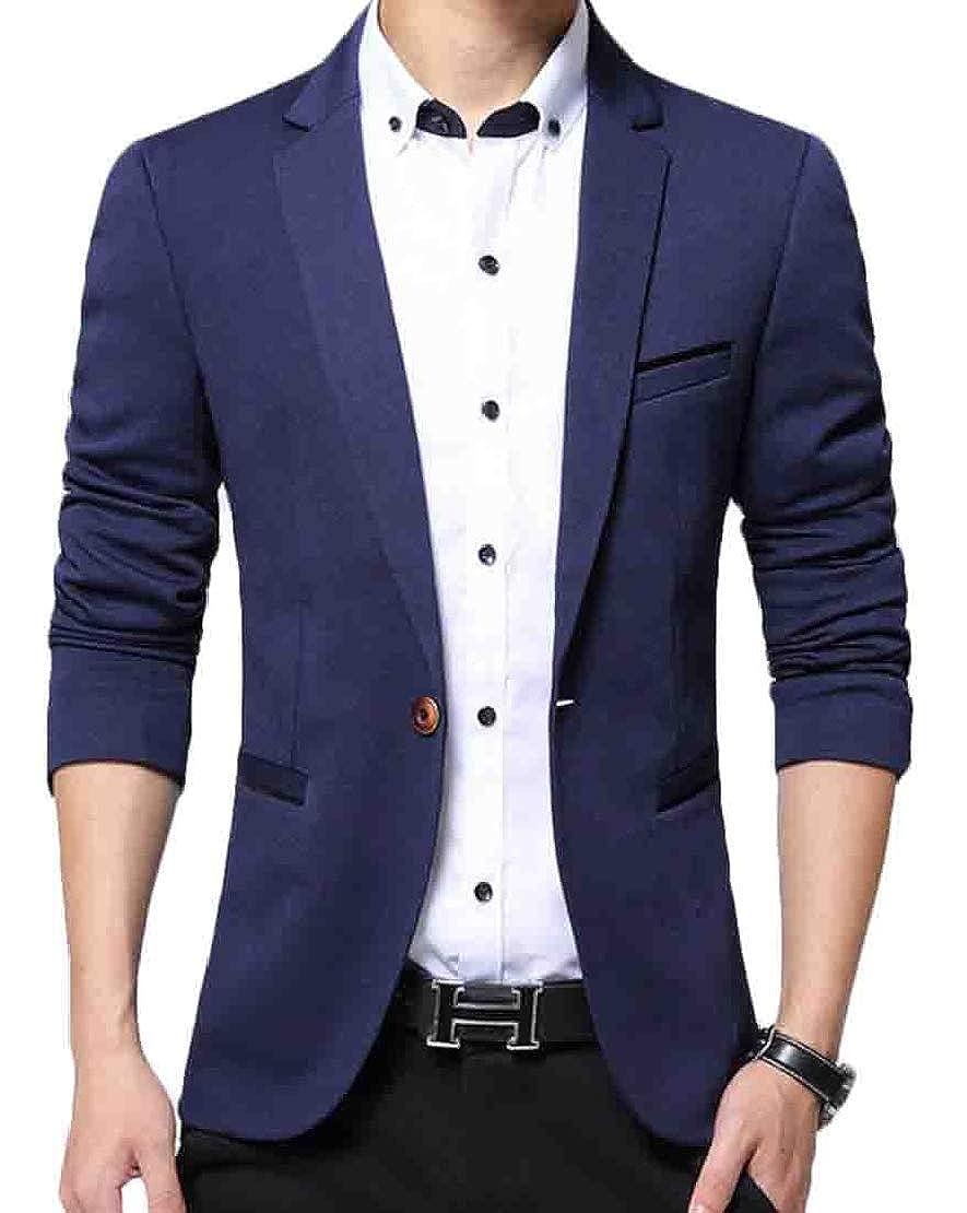 Jotebriyo Men Lapel Casual Formal One Button Slim Fit Solid Color Non-Iron Jackets Blazer Coat