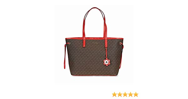 00f9e1856e06 Amazon.com: Michael Michael Kors Carter Canvas Large Reversible Tote  Handbag in Brown Begonia: Clothing
