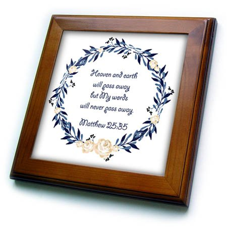 3dRose TNMGraphics Scripture - Scripture Matthew 25 Heaven and Earth Will Pass Away - 8x8 Framed Tile (ft_280636_1) by 3dRose