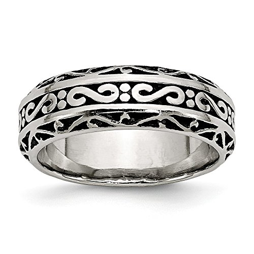 Size 9.5 - Stainless Steel 7mm Antiqued-Style Wedding (Antiqued Mens Wedding Ring)