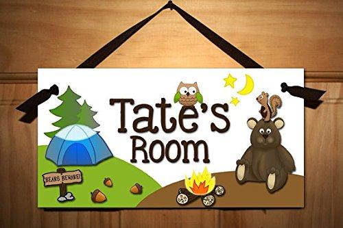 Camping Door Sign Boys Bedroom Nursery Door Sign Personalized Wall Art Decor Ds0047