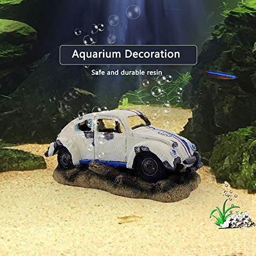 Capetsma Aquarium Decorations, Imitation Wreck Car Resin Ornament for Air Stone Bubbler Oxygen Pump Providing dissolved Oxygen, Perfect Fish hideouts, Terrarium,Pond Fish Tank Decor