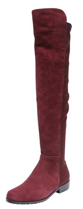 Amazon.com | Kaitlyn Pan Flat Heel Genuine leather over the knee ...