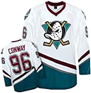AIFFEE Men's Hockey Jersey #96 Conway Ducks Ice Hockey Jerseys White Color Size S