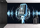 wall26 - Vintage Microphone on the Abstract Background - Removable Wall Mural | Self-adhesive Large Wallpaper - 100x144 inches
