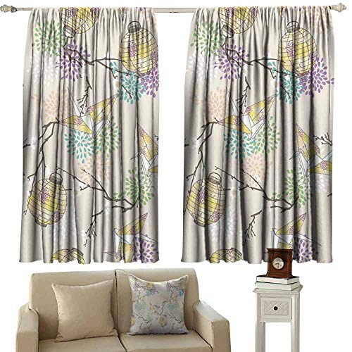 Kids Room Curtains Lantern Colorful Origami Cranes Paper Lanterns with Branches and Flowers Culture Light Blocking Drapes with Liner W55 xL63 Lilac Pink Beige Yellow