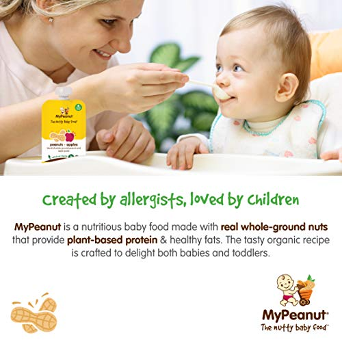 MyPeanut Baby Food, Organic Stage 1 Peanut and Apple Puree for Introducing and Feeding Babies and Toddlers Nuts, Non-GMO, BPA Free 3.5 oz Pouch, 24 Pack by MyPeanut (Image #1)