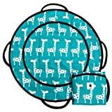 Patemm Round Baby Diaper Portable Changing Pad (Turquoise Giraffes)