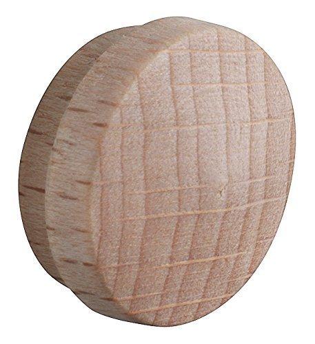 20 Stück - GedoTec® Lochabdeckungen Abdeckkappen Holz für Blind-Bohrung Ø 15 mm | Massivholz Buche naturbelassen | Gesamt Ø 17 mm | Kappen rund zum Eindrücken | Markenqualität für Ihren Wohnbereich