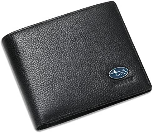 Subaru Bifold Wallet with 3 Credit Card Slots and ID Window - Genuine Leather