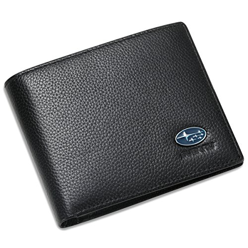 Subaru Bifold Wallet With 3 Credit Card Slots And Id Window   Genuine Leather