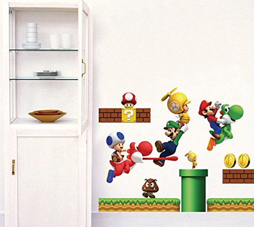 Super Mario Build a Scene Peel and Stick Wall Decal Stickers For Kids Boys Nursery Wall Art Room Mural Decor Decal