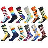 Bonangel Men's Fun Dress Socks - Colorful Funny Novelty Crazy Crew Socks Pack