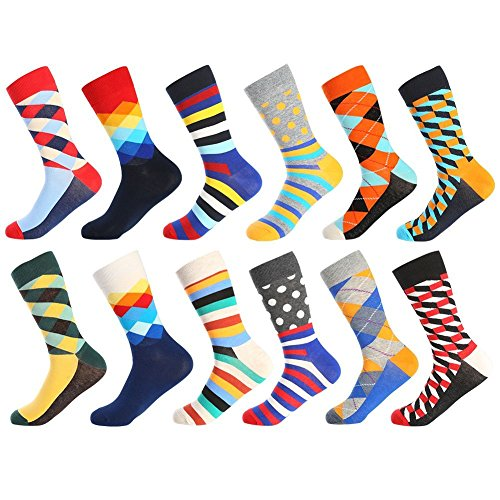 Bonangel Men's Fun Dress Socks - Colorful Funny Novelty Crazy Crew Socks Pack