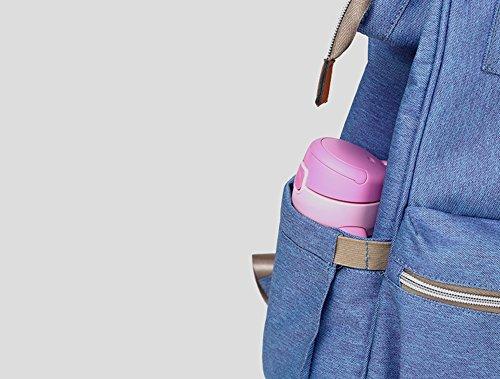 Bolso de la momia, bolso de múltiples funciones de la madre de la manera de gran capacidad, morral del hombro, bolso grande del bebé de la capacidad ( Color : Azul zafiro ) Gris