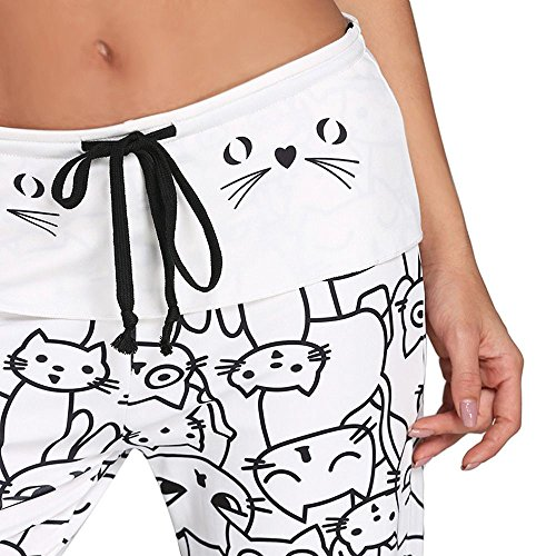 larga a gatti Bianca Pantaloni moda Pantaloni per gamba per pantaloni di esecuzione corsa sportivi di stampa di di regolabili con donne gatti vita della la fitness sportivi a in le alta twArqApX