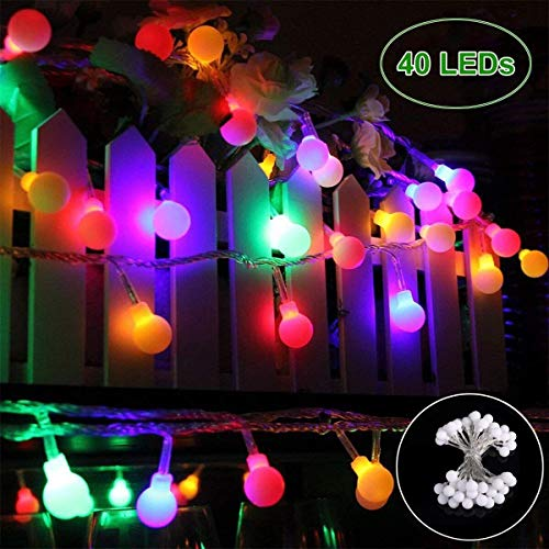 GREEMPIRE Globe String Lights, 40 LED Waterproof Decorative String Lights Outdoor, IP 65, Battery Operated Starry Fairy Lights for Patio, Christmas, Garden, Wedding, Parties (40 LED Multicolor)