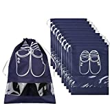 Pack of 10 Dust-proof Breathable Travel Shoe Organizer Bags for Boots, High Heel - Drawstring, Transparent Window, Space Saving Storage Bags, Medium Size, Navy Blue