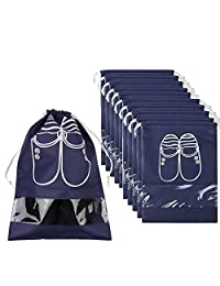 Pack of 10 Portable Dust-proof Breathable Travel Shoe Organizer Bags for Boots, High Heel -- Drawstring, Transparent Window, Space Saving Storage Bags, Medium Size, Navy Blue