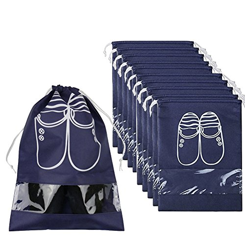 (Pack of 10 Dust-proof Breathable Travel Shoe Organizer Bags for Boots, High Heel - Drawstring, Transparent Window, Space Saving Storage Bags, Medium Size, Navy Blue)