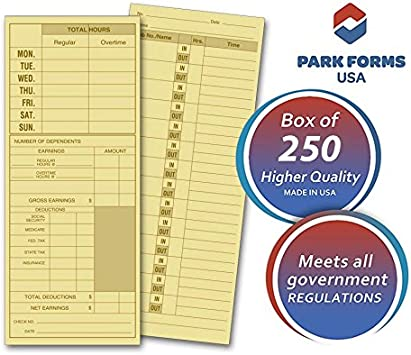 Amazon Com Park Forms Daily Job Time Card For Employees 3 5 X 8 5 Inch Sheets Manila Green 250 Count Office Products