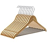 SONGMICS Bamboo Wood Suit Hangers, 10 Pack Premium Quality Heavy Duty for Coats Jackets Dresses and Pants, Shirt Hangers with Non Slip Shoulder Notches and Trousers Bar, Natural, UCRW002-10
