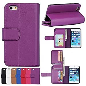 TOPMM Wallet Pattern PU Leather Full Body Case with Card Slot for iPhone 6 (Assorted Colors) , Red