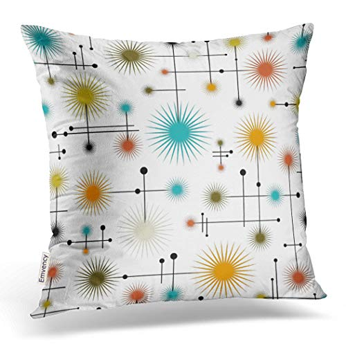 Emvency Throw Pillow Cover Retro Starbursts A Go Decorative Pillow Case Home Decor Square 18 x 18 Inch Cushion Pillowcase (Retro Modern)