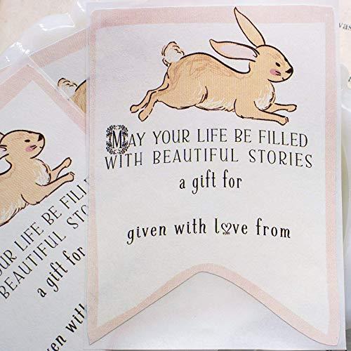 Pink Bunny Rabbit Baby Shower Bookplates Set of 20