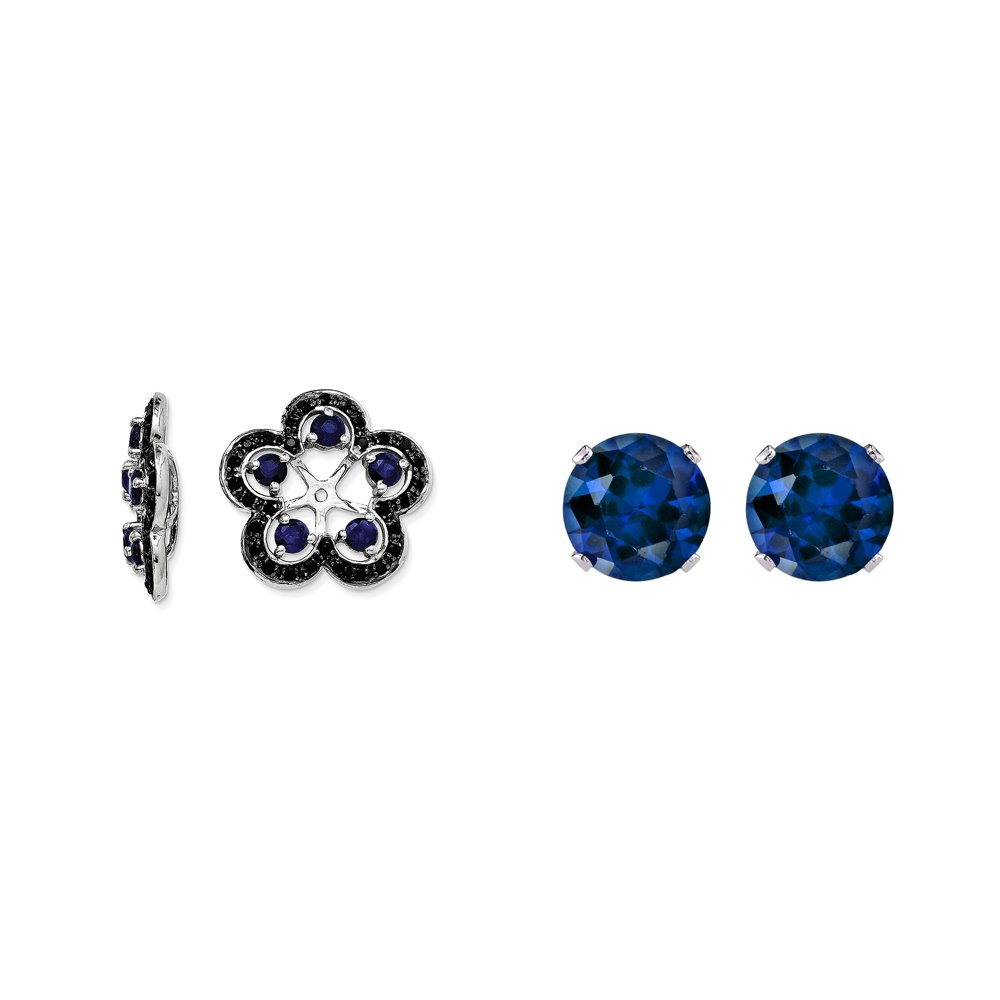 Sterling Silver Blue Simulated Sapphire, Black Simulated Sapphire Earring Jacket + 2mm Blue CZ Studs
