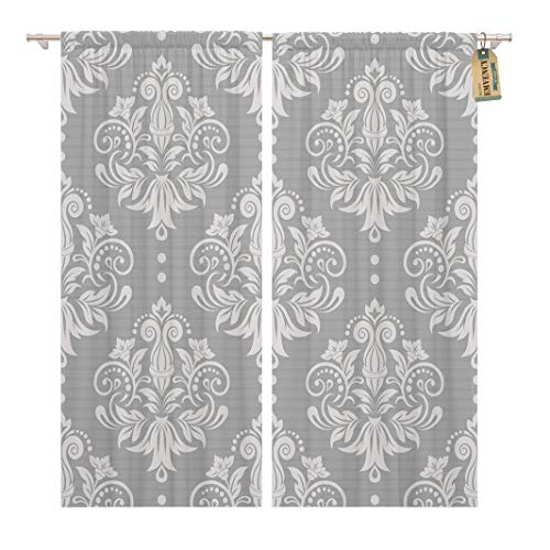 (Golee Window Curtain Silver Pattern Damask Gray Floral Victorian Lace Modern Luxury Home Decor Rod Pocket Drapes 2 Panels Curtain 104 x 84 inches )