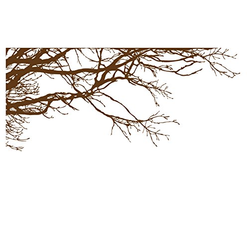 - Large Tree Wall Decal Sticker - Semi-Gloss Brown Tree Branches, 44in X 100in, Left to Right. Removable, No Paint Needed, Tree Branch Wall Stencil The Easy Way.