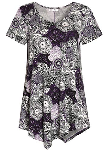 Esenchel Women's V-Neck Swing Shirt Casual Tunic Top for Leggings L - Shirt Top Leggings