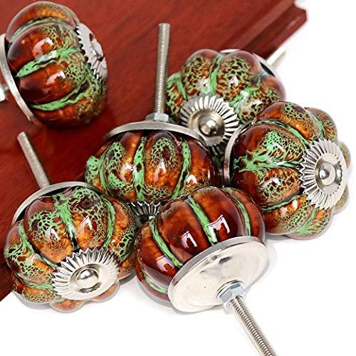 SunKni 6 Pack Ceramic Glazed Pumpkin Knobs for Kitchen Cabinets Cupboard Bathroom Cabinet Dresser Drawers Wardrobe Closet Door Knobs Vintage Round Hardware Ceramic Furniture Knobs and Pulls (Green)