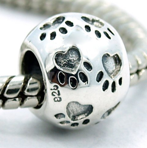 .925 Sterling Silver Round Paw Print Bead - Charms Feet Silver Sterling
