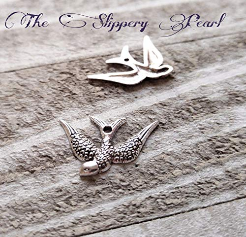 (Pendant Jewelry Making 4 Bird Charms Pendants Swallow Sparrow Rockabilly Left Facing Animal Findings)