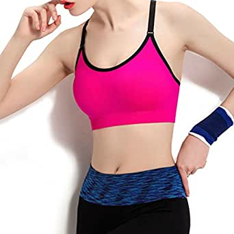 Elite99 Women's Yoga Sports Bra T-Back Seamless Wireless Workout Crop Tops (M/ 32D-34B-34C Cup, 89026Rose Red)