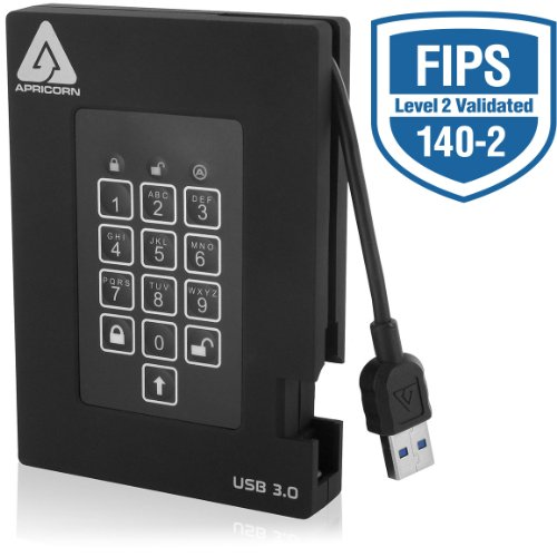 Apricorn Aegis Padlock Fortress FIPS 140-2 Level 2 Validated 256-bit Encrypted USB 3.0 Hard Drive with PIN Access, 1 TB Aegis Padlock Usb