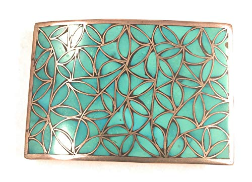 Estate Vintage 1950s Zuni Sterling Silver Turquoise Inlay Belt Buckle from Nizhoni Traders LLC