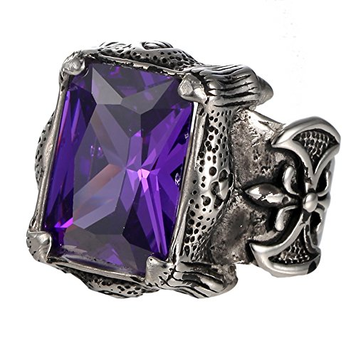 Siver Vintage Stainless Steel Gothic Big Square Purple CZ Men