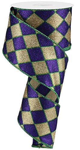 Glitter Harlequin Wired Edge Ribbon, 10 Yards (Mardi Gras, - Glitter Harlequin