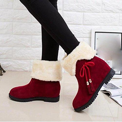 Amiley Snowboots Winter Enkellaarzen Dames Schoenen Hakken Bruiloft Outdoor Schoenen Rood