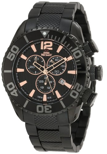 Swiss Precimax Men's SP12171 Deep Blue Pro II Black Dial with Black Stainless Steel Band Watch