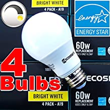 EcoSmart 60W Equivalent Bright White A19 Energy Star + Dimmable LED Light Bulb (4-Pack)