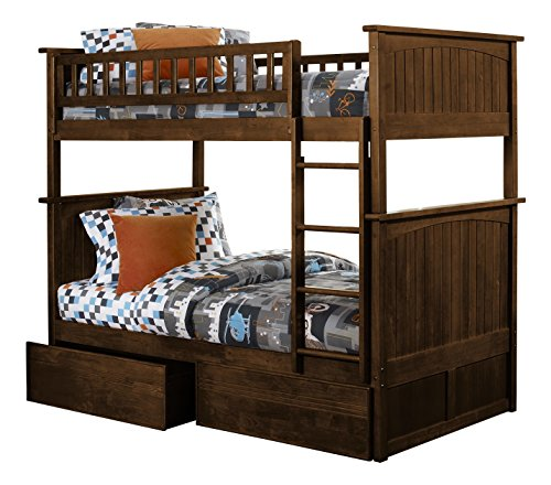 Atlantic Furniture Nantucket Bunk Bed with 2 Flat Panel Bed Drawers, Twin Over Twin, Antique Walnut (Drawer 2 Youth)